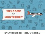 """airplane with banner """"welcome...   Shutterstock .eps vector #587795567"""