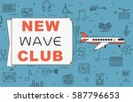 """airplane with banner """"new wave...   Shutterstock .eps vector #587796653"""