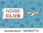 """airplane with banner """"noise...   Shutterstock .eps vector #587802773"""