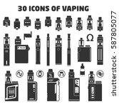 solid set of vaping objects.... | Shutterstock .eps vector #587805077