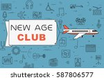 """airplane with banner """"new age...   Shutterstock .eps vector #587806577"""