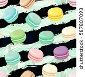 realistic macaroons colorful... | Shutterstock .eps vector #587807093
