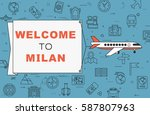 """airplane with banner """"welcome...   Shutterstock .eps vector #587807963"""
