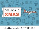 """airplane with banner """"merry...   Shutterstock .eps vector #587808137"""