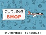 """airplane with banner """"curling...   Shutterstock .eps vector #587808167"""