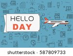 """airplane with banner """"hello day""""...   Shutterstock .eps vector #587809733"""