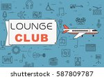 """airplane with banner """"lounge...   Shutterstock .eps vector #587809787"""
