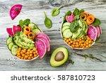 vegan  detox buddha bowl recipe ... | Shutterstock . vector #587810723