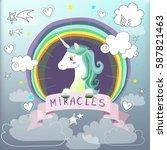 happy unicorn with rainbow | Shutterstock . vector #587821463
