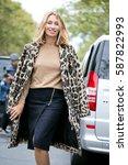 Small photo of PARIS-SEPTEMBER 30, 2016. Stylist Alexandra Golovanoff is going to a fashion show. Paris fashion week.