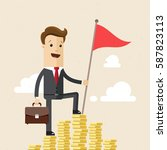 businessman climbed a mountain... | Shutterstock .eps vector #587823113
