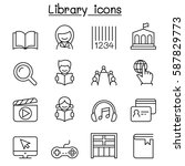 library icon set in thin line... | Shutterstock .eps vector #587829773