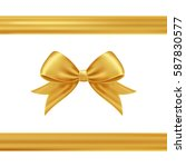 gold gift ribbon and bow. | Shutterstock .eps vector #587830577