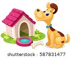 Stock vector cute dog with dog house 587831477