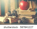 old vintage books on wooden... | Shutterstock . vector #587841227