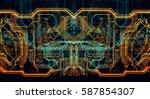 circuit board futuristic server ... | Shutterstock . vector #587854307