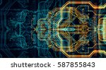 circuit board futuristic server ... | Shutterstock . vector #587855843