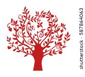 abstract red heart tree ...   Shutterstock .eps vector #587864063