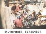 top view of multi racial... | Shutterstock . vector #587864837