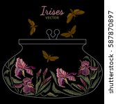 embroidery irises template for... | Shutterstock .eps vector #587870897