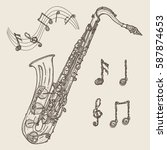 saxophone and music notes ... | Shutterstock .eps vector #587874653