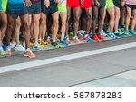 athletes waiting at marathon... | Shutterstock . vector #587878283