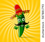 green chilli pepper character... | Shutterstock .eps vector #587881793