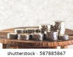 coin money tower on wooden desk ... | Shutterstock . vector #587885867