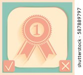first place ribbon rosette icon....   Shutterstock .eps vector #587889797