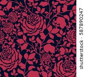 pattern with colorful rose...   Shutterstock .eps vector #587890247