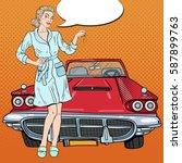 pop art blonde woman with car... | Shutterstock .eps vector #587899763