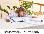 beautiful little girl cutting... | Shutterstock . vector #587900087