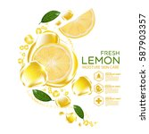 lemon fruit serum moisture skin ... | Shutterstock .eps vector #587903357