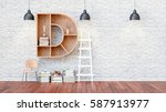 a library with bookshelves a... | Shutterstock . vector #587913977