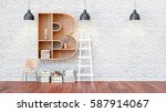 a library with bookshelves a...   Shutterstock . vector #587914067