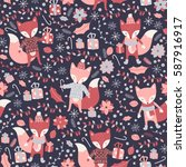 vector seamless foxes pattern | Shutterstock .eps vector #587916917