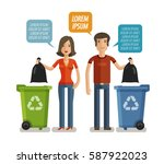 garbage can  waste bin  trash... | Shutterstock .eps vector #587922023