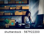Small photo of Charming beautiful asian teenager owner business woman work at home online shopping,writing the order preparing package product with office equipment, entrepreneur alpha generation life style concept