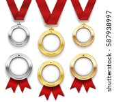 set of gold  silver and bronze... | Shutterstock .eps vector #587938997
