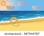 summer beach background with... | Shutterstock .eps vector #587944787