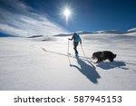 girl makes ski mountaineering...   Shutterstock . vector #587945153