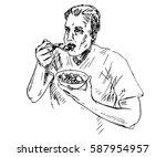 man eating porridge with fruits ... | Shutterstock .eps vector #587954957
