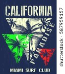 california miami summer t shirt ... | Shutterstock .eps vector #587959157