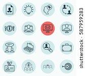 set of 16 business management... | Shutterstock . vector #587959283