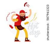 cheerful hot dog seller man... | Shutterstock .eps vector #587961323