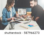 one on one meeting.business... | Shutterstock . vector #587966273