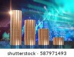 3d rendering of coin stacks on... | Shutterstock . vector #587971493
