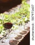 wine glasses on on sunny...   Shutterstock . vector #587971607