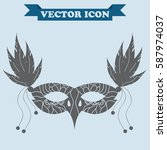 carnival masquerade mask with... | Shutterstock .eps vector #587974037