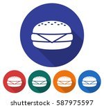round icon of  cheeseburger.... | Shutterstock .eps vector #587975597
